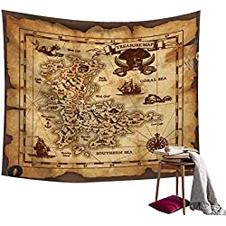 Ancient Pirate Treasure Map Decor Tapestry Wall Hanging Astrology Hippie Ethnic Decorative Art Window Curtain Table Cover Bedspread Beach Towel HYC44-6-S