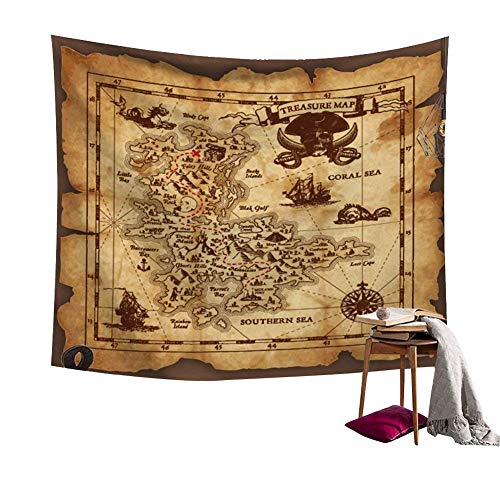 Ancient Pirate Treasure Map Decor Tapestry Wall Hanging Astrology Hippie Ethnic Decorative Art Window Curtain Table Cover Bedspread Beach Towel (59