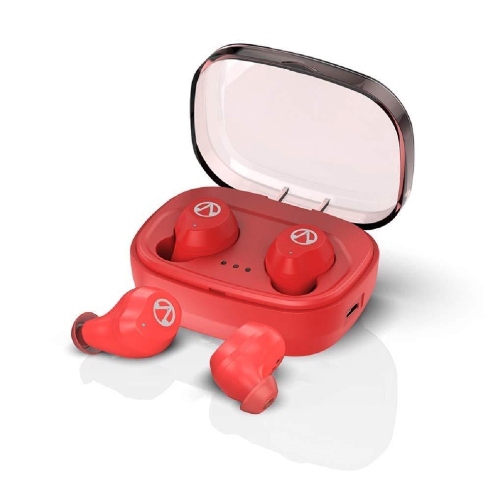ワイヤレスヘッドフォン、IPX7防水スポーツヘッドフォン、充電ケース付きBluetooth 5.0ステレオサウンド品質イヤホン小型およびミニイヤホンTWSワンクリックヘッドセット (Color : Red) B07PKKF9WY