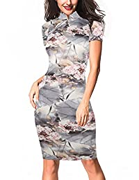 oxiuly Women's Retro Print Stretch Short Sleeve Stand Collar Pencil Dress OX183