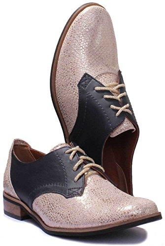 Justin Reece Damen Designer Leder, zum Schnüren Brogue-Schuhe Navygold SS19