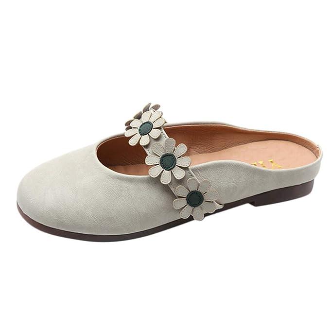 Bestow con Zapatillas perezosas, de Princesa Planos versátiles, Moda, Baotou, Zapatos semideslizantes. Casuales de Flores.: Amazon.es: Ropa y accesorios