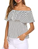 Sherosa Women's Off Shoulder Ruffles Solid Casual Blouse Loose Tops