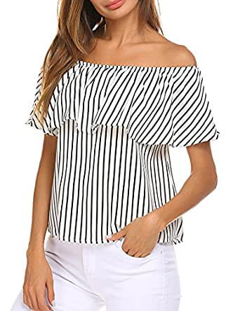 Sherosa Women's Off Shoulder Ruffles Solid Casual Blouse Loose Tops (S, Black and Withe)