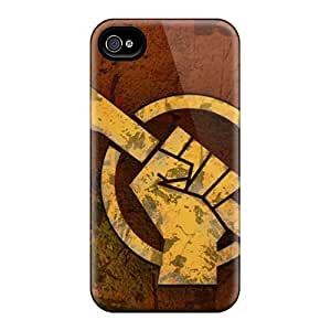 Hot Design Premium EedSlXO6972ePpLD Tpu Case Cover Iphone 4/4s Protection Case(red Faction Logo)