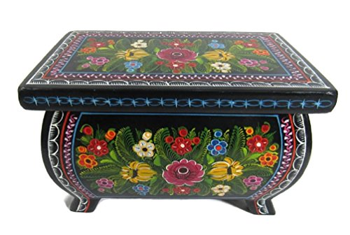 El Relicario de Los Tesoros Large Footed Olinala Hand Lacquered Painted Carved Incised Rectangular Wooden Jewelry Trinket Stash Box Crafted in Mexico (Black - Rainbow Garden ()