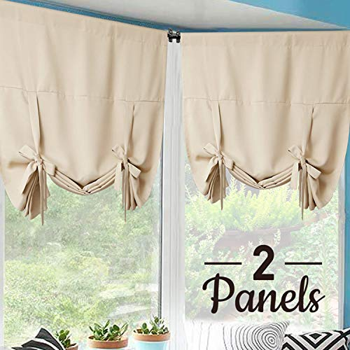 (Rose Home Fashion Tie Up Curtain Blackout Curtains Innovated Tie Up Shades Thermal Insulated Rod Pocket Curtain for Windows (Beige-42by63, 2Pieces))