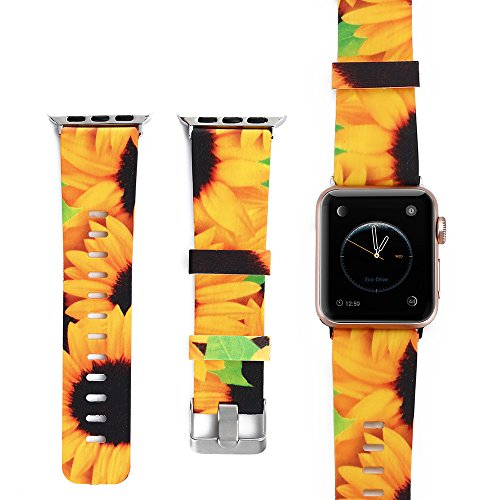 - Amedve for Apple Watch Silicone Bands 38mm/40mm, Soft Silicone Floral Print Strap Replacement iWatch Wristbands for Apple Watch Sport Edition Series 4 Series 3 Series 2 Series 1 (Sunflower)