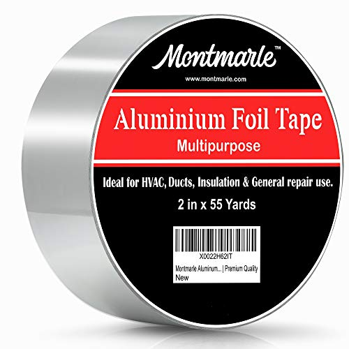 Montmarle Aluminum Foil Tape | Extra Strong and Insulating HVAC Duct Tape | Water Proof | Flame Retardant | Rust Repair | Multi-Functional | Durable | Easy to Use | Premium Quality | 2 in x 55 Yards