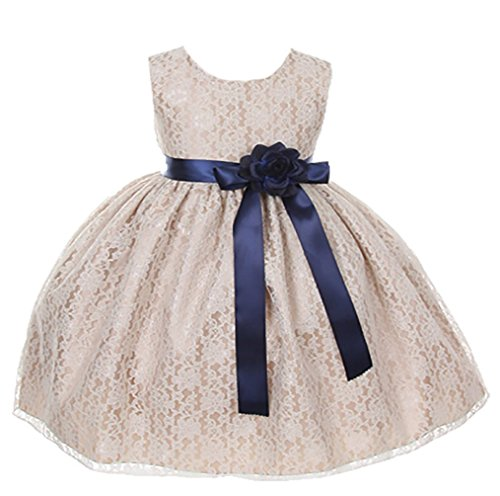 Cinderella Couture Baby-Girls Champagne Lace Dress Navy Sash & Flw 12M M 1132B