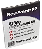 Battery Replacement Kit for Garmin Nuvi 2598 with Installation Video, Tools, and Extended Life Battery.