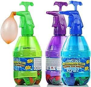 Bombas de agua ser llenado con 250 globos en una botella de presión