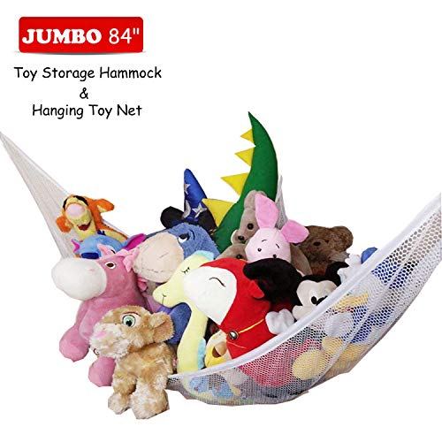 (Jumbo Stuffed Animal Storage Hammock - Wall Toy Storage Net 7 Feet for Organizing Kids Rooms Tidy - Stuffies Corner Hammock Net for Hanging Toys Animals Teddy Bear, Portable and)