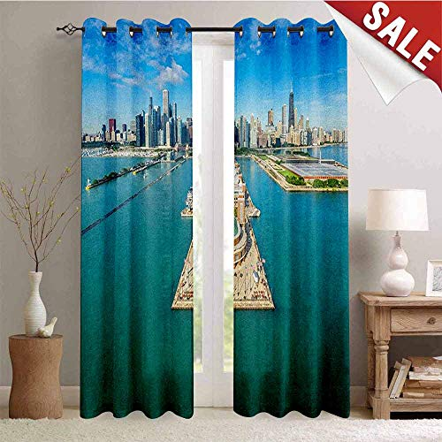 Chicago Skyline, Drapes for Living Room, Aerial Panorama of Navy Pier Marine Metropolis Big City Silhouette View, Window Curtain Fabric, W72 x L96 Inch Multicolor (One Windsor Pier)