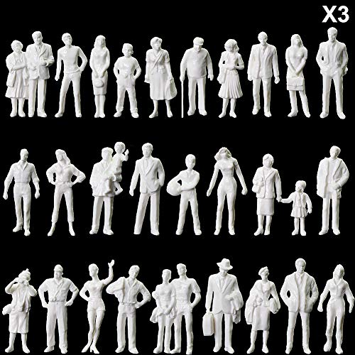 P4310B 90pcs O Gauge White Standing Figures Unpainted 1:43 Scale People Passengers for Model Train Miniature Scenery Layout