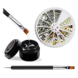 Nail Crystal Rhinestones Starter Kit with Glue and Tool Included