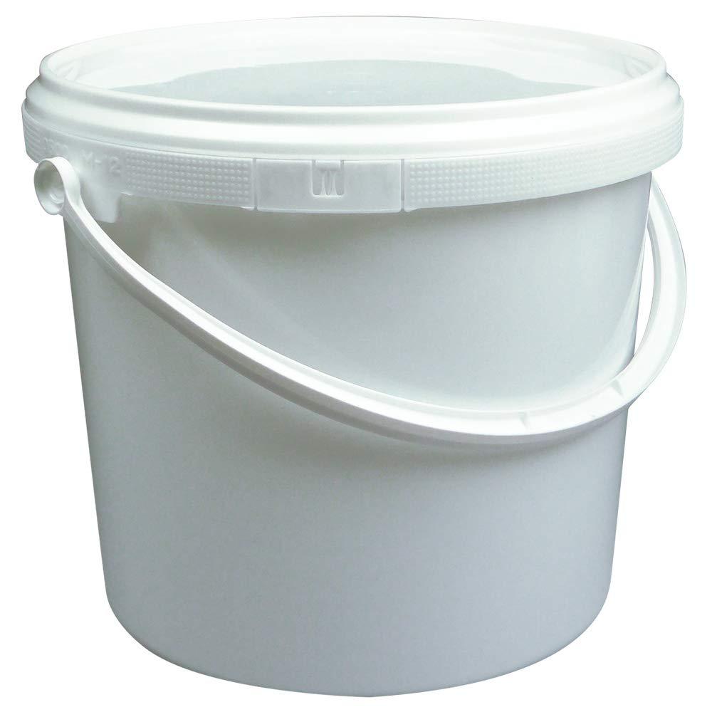 SAIER Rundeimer mit Deckel und Henkel, weiß , lebensmittelecht mit hervorragender Dichtung (Luftdicht) und Ö ffnungshilfe (10, 2 Liter)
