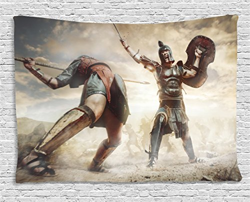 Ambesonne Toga Party Tapestry by, Gladiators Ancient Greek Warriors Fighting in the Combat Swords Shields, Wall Hanging for Bedroom Living Room Dorm, 60 W X 40 L Inches, Brown Tan Dark Blue -