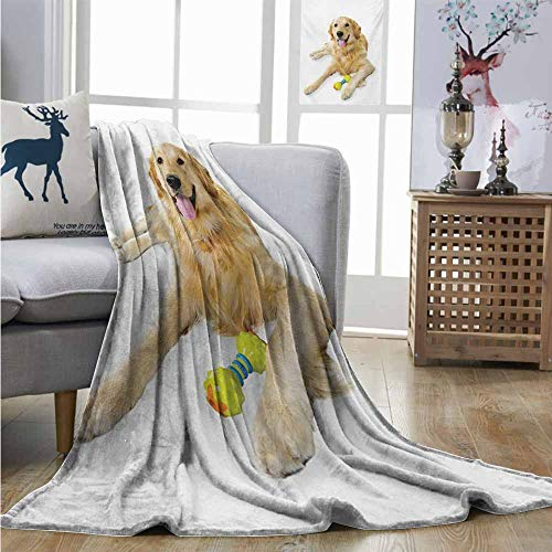 Playful Blanket Puppy Plush - Homrkey Warm Blanket Golden Retriever Pet Dog Laying Down with Toy Friendly Domestic Puppy Playful Companion Plush Blankets W40 xL60 Multicolor