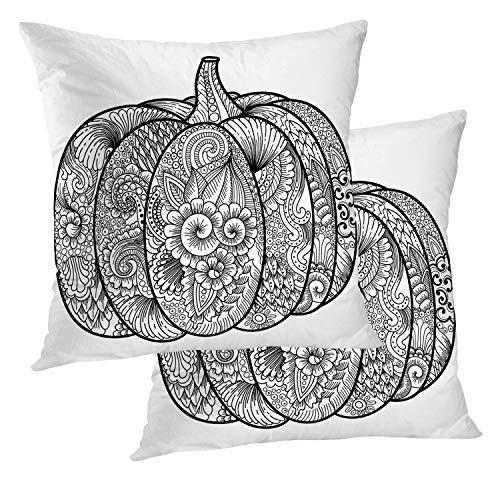 BaoNews Black and White Pillow Cover, Halloween Pumpkin