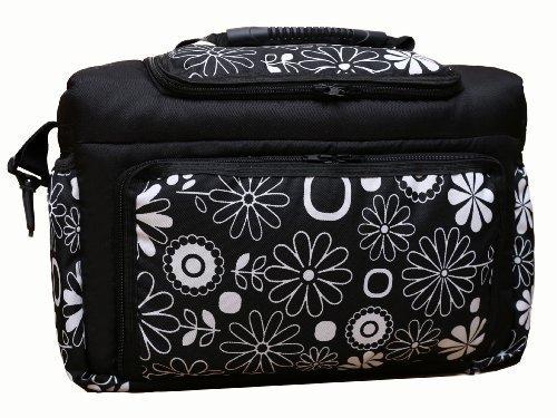 TK-02 Wickeltasche KIM von Baby-Joy XXXL Übergröße Schwarz Weiß Blumen Windeltasche Pflegetasche Babytasche Tragetasche