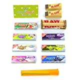 Juicy Jay's Flavoured Rolling Papers 1 1/4 Size Superfine Bundle with Rolling Machine, Tips, Doob Tube and Dank Paper Scoop Card
