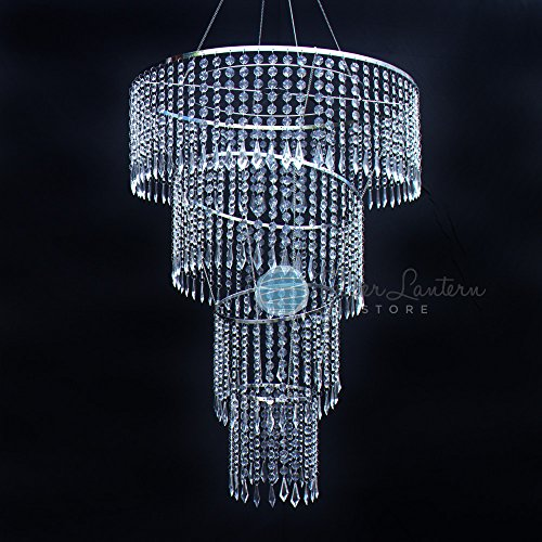 (Quasimoon PaperLanternStore.com Designer Crystal Stainless Steel Chandelier - 24 x 45 Inch Long Round 4-Tier, Bejeweled )
