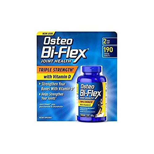 Osteo Bi-Flex Triple Strength w/ Vitamin D, 1Pack (190 Tablets Each ) Nmbks by Osteo Bi-Flex