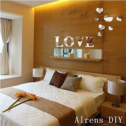 Alrens_DIY(TM) 11pcs Love Letter Hearts DIY Patterns TV Background Decor Mirror Surface Crystal Wall Stickers Acrylic 3D Home Decal Living Room Murals Wall Paper adesivo de parede (Silver)
