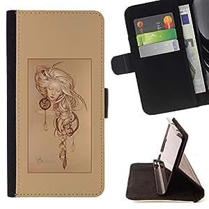 """For MOTOROLA MOTO X PLAY XT1562,S-type Colector ideal del cartel de la muchacha del sueño"""" - Dibujo PU billetera de cuero Funda Case Caso de la piel de la bolsa protectora"""