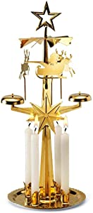 Angel Chimes The Original & Traditional Decorative Swedish Candle for Christmas - Metal Chime Carousel, Authentic, Scandinavian, Decoration & Ornament for Home and Kitchen-Brass Color Metal (+4 Candles)