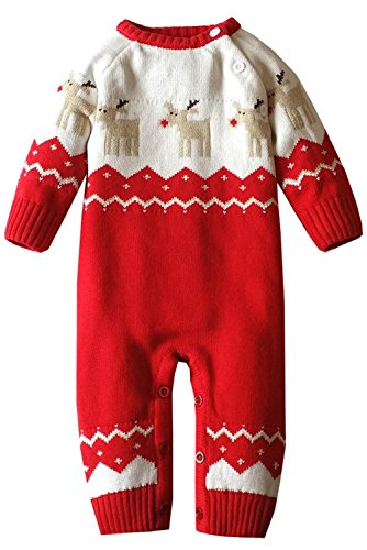 Newborn Baby Christmas Reindeer Romper Knitted Sweaters Outfit (0-4Months, -