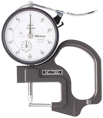 Mitutoyo 7360 Dial Thickness Gage, Tube Thickness Anvil, 0-10mm Range, 0.01mm Graduation, +/-15 micrometer Accuracy