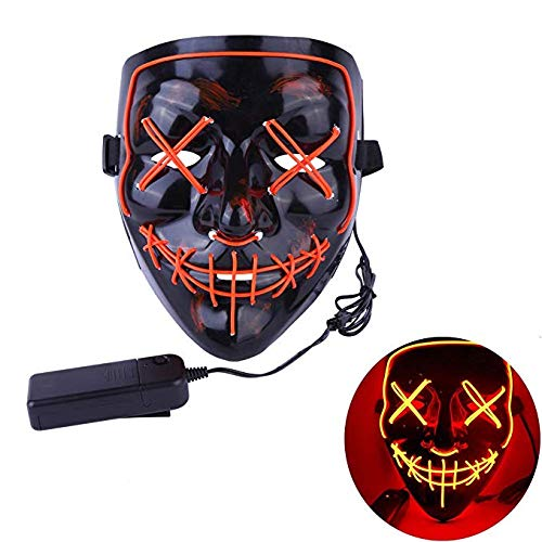 (CANASOUR Halloween Mask Frightening Cosplay LED Light up Mask for Festival Cosplay Costume)