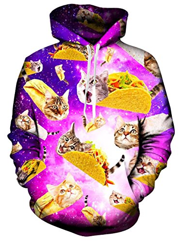 RAISEVERN Unisex Funny Tacos and Cats Galaxy Space Pullover Hoodie Hooded Sweatshirt for Women Men XX-Large by RAISEVERN