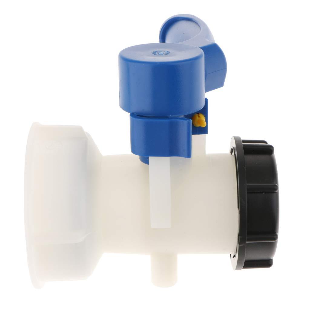 Container 75mm // 62mm Ablasshahn Kanister Regentonne F Fityle 1000L Auslaufhahn F/ür Wassertank Wei/ß und blau 62mm