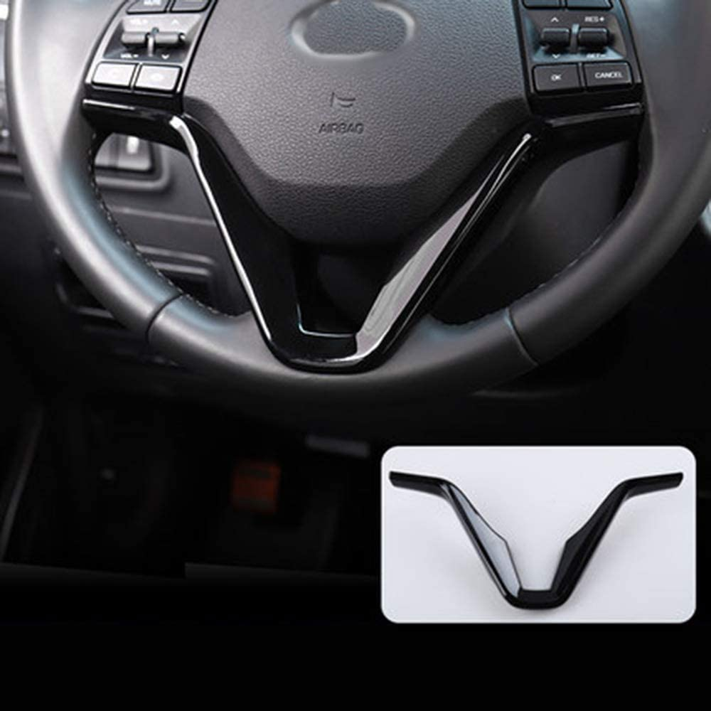 Blue with carbon fiber texture 1 Piece ABS Car Steering Wheel Sequins Cover Interior Decoration Trim Sticker for Hyundai Tucson 3th 2015 2016 2017 2018 19 LHD Car Styling Accessories