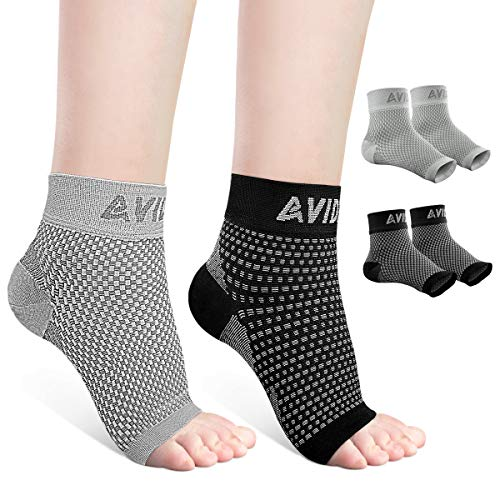 AVIDDA Ankle Brace for Men Women 2 Pairs Plantar Fasciitis Socks with Arch Support Open Toe Compression Foot Sleeve for Achilles Tendon Support Sprained Ankle Swelling Flat Feet Black & Gray L