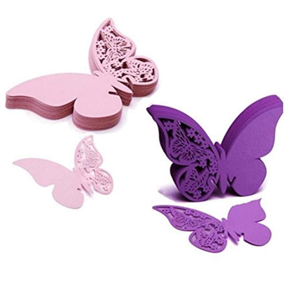 Eshylala 100 Pcs Butterfly Wine Glass Cards Laser Cut Name Place Cards Wine Cup Decoration Postcards Wedding Centerpieces Table Decoration (Pink&Purple) Eshylala Store