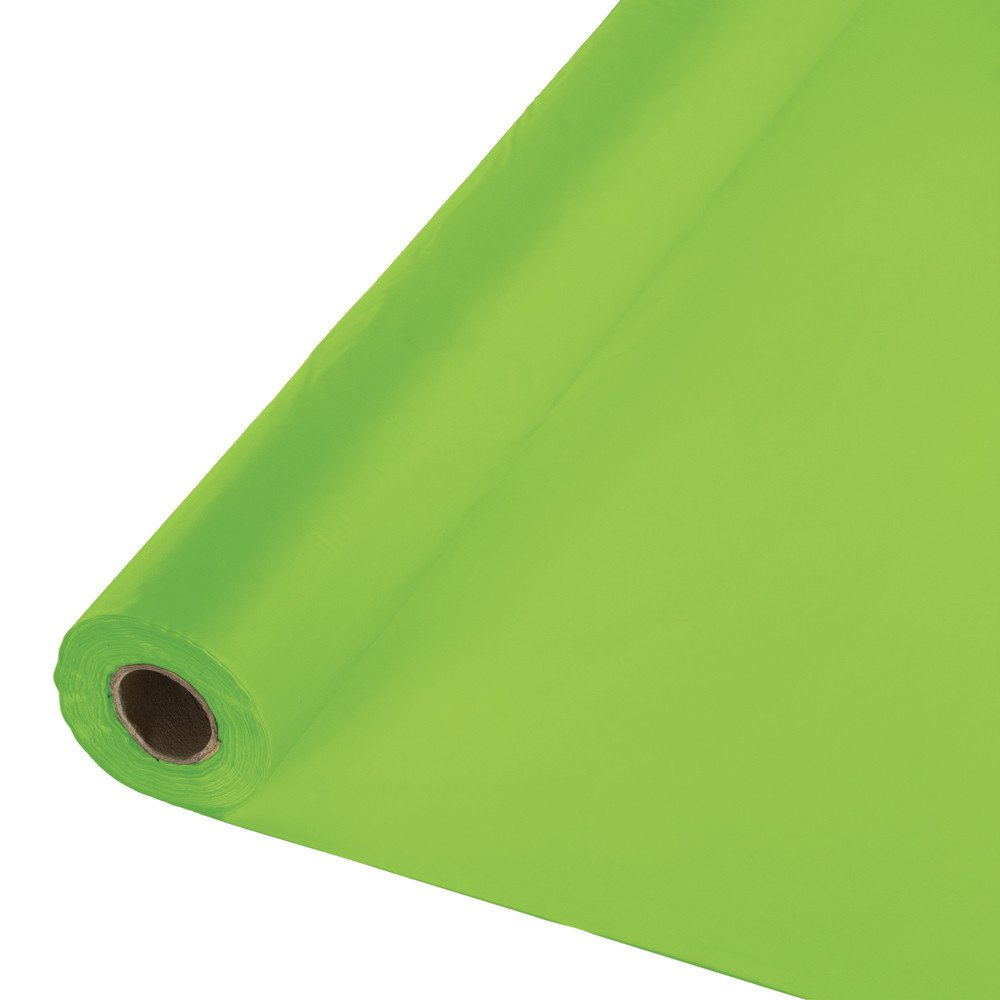 Creative Converting 316947 Plastic Table Cover Banquet Roll, 250', Fresh Lime