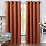 VEEYOO Thermal Insulated Grommet Curtains – Living Room Solid Windows Blackout Panels Drapes, Noise Reducing Curtains for Kids, Set of 2 Panels, 52″ W x 95″ L, Cognac