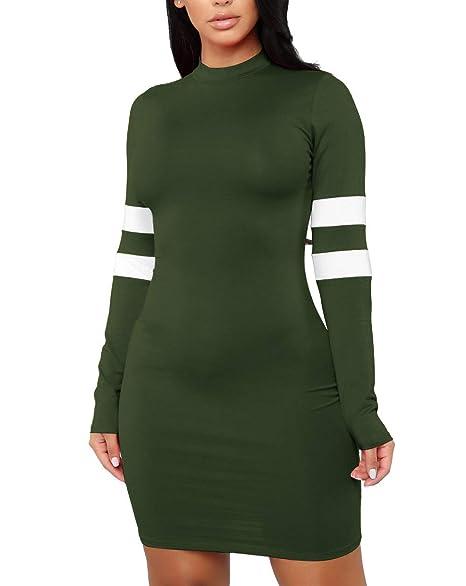 9f13df81aba3 MolVee Women s Sexy Bodycon Tight Long Sleeve Dress Nightclub Mini T Shirt  Dresses (S