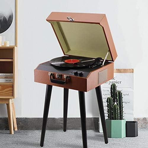 ALIZJJ ギフトルームの装飾古いため3速ターンテーブル、CD、カセットプレーヤーやラジオ付きBluetoothのミッドセンチュリーレコードプレーヤー (Color : A)