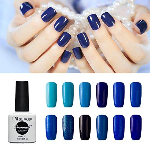 Vrenmol Gel Nail Polish Set 12pcs Blue Soak off UV LED Nail Polish Nail Lacquers Nail Art Manicure Kit
