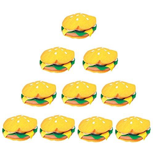 10 Pack of Hamburger Hats (Ketchup And Mustard Costume)
