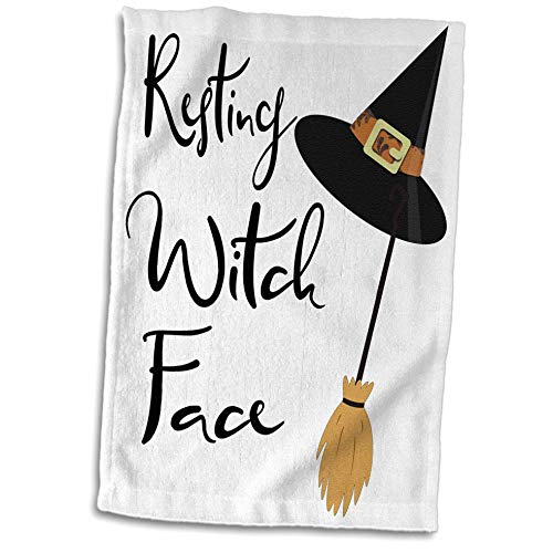 3dRose Anne Marie Baugh - Quotes, Sayings, and Typography - Resting Witch Face - Halloween Saying - 15x22 Hand Towel (TWL_297023_1)