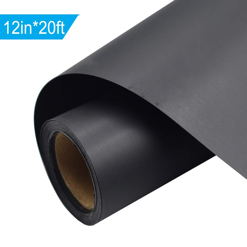 Black Heat Transfer Vinyl HTV for T-Shirts 12 Inches by 20 Feet Rolls