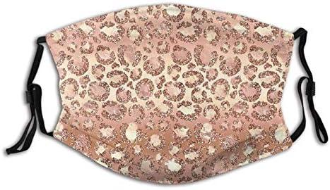 SUOWEI Glam Rose Gold Luipaard Spots Gezichtsmasker Winddicht Herbruikbaar Gewassen voor Outdoor Sport Half Gezicht Oorlus