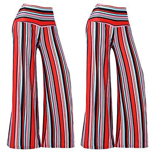 a Cintura Donna gamba donne delle Pants Boho Pantaloni Spiaggia Pantaloni Harem in Waist Leggeri vita YanHoo stampati Viscosa Pantaloni larghi strisce Rosso bassa della da pantaloni con a Smocked qBntZ