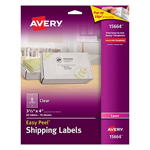 - Avery Clear Easy Peel Shipping Labels for Laser Printers 3-1/3